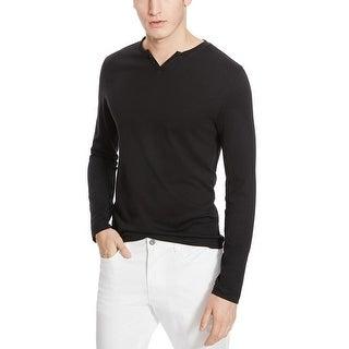 Kenneth Cole Reaction Split Neck Long Sleeve T-Shirt Black Medium M