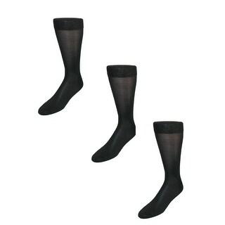 Windsor Collection Men's Silk Mid Calf Dress Socks (Pack of 3)