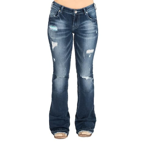 Cowgirl Tuff Western Jeans Womens Let It Be Trouser Dark Wash