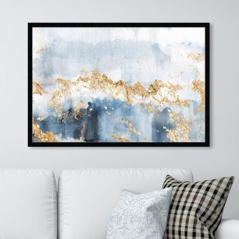 Oliver Gal 'Eight Days a Week' Abstract Framed Wall Art Prints Watercolor - Blue, Gold