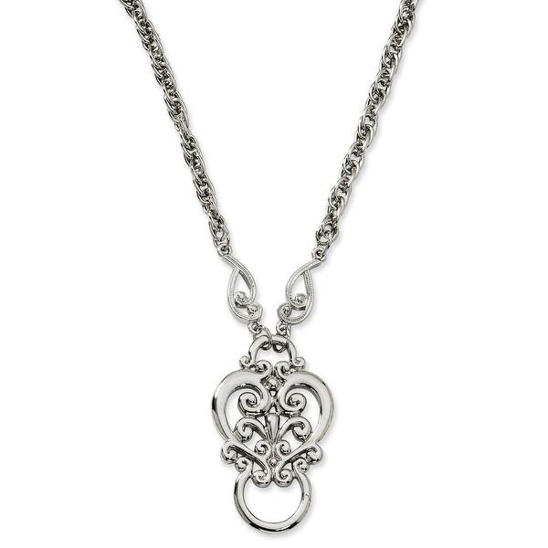 Silvertone Fancy Scroll Eyeglass Holder Necklace - 28in