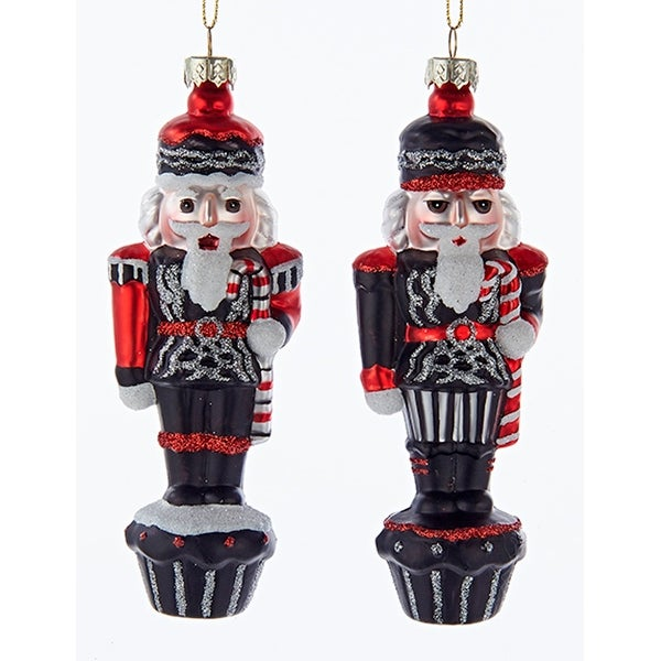kurt adler chalkboard black red nutcrackers holiday ornaments set of 2 glass - Nutcracker Christmas Ornaments
