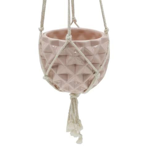 "5 x 5"" Ceramic Macrame Hanging Planter Pot"