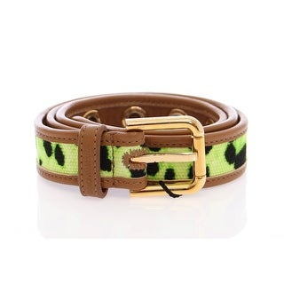 Dolce & Gabbana Green Leopard Leather Logo Belt - 70-cm-28-inches