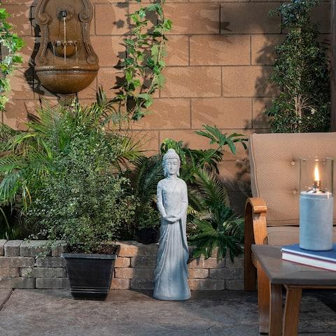 Alpine Corporation Gray Cement Standing Outdoor Garden Buddha Statue