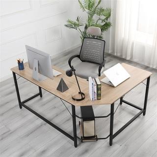 L-shaped Corner Table - Wood Colour
