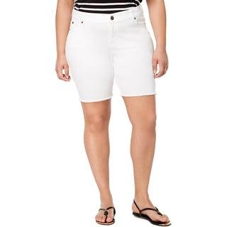 Celebrity Pink Womens Plus Dare You Bermuda Shorts Denim Walking Optic White