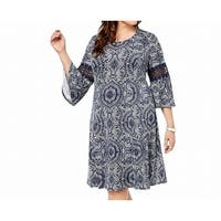 Ny Collection Blue White Women Size 1X Plus Bell Sleeve A-Line Dress