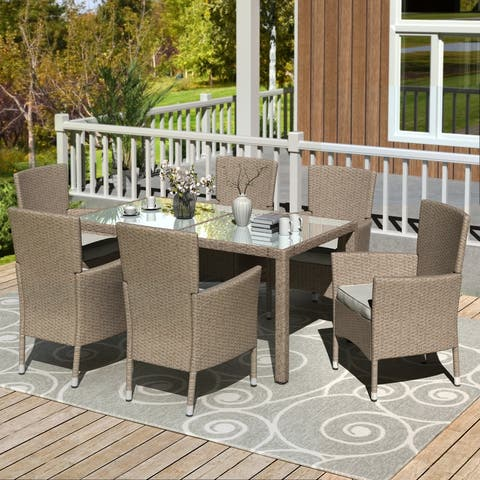 AOOLIVE 7 Piece Patio Dinning Table Wicker & Outdoor Wicker Dining Set
