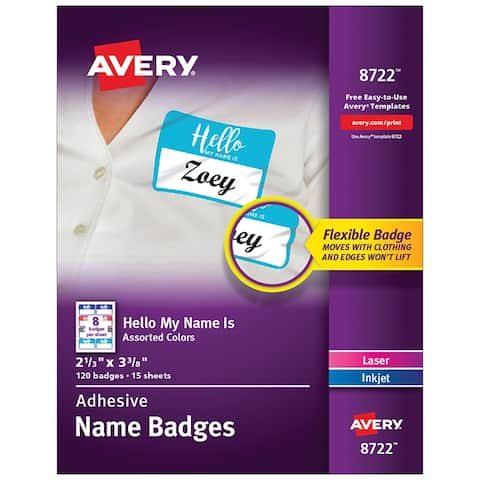 Avery flexible adhesive name badge labels 08722
