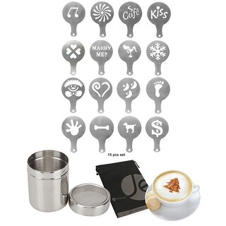 JE Stainless Steel Coffee Shaker for Sugar, Cocoa Powder Bonus (16 PCS SET) Stainless Steel Stencil Templates for Coffee
