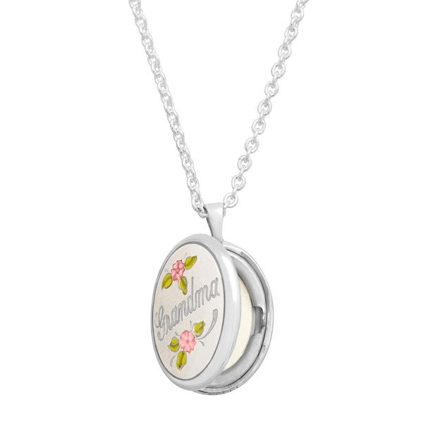 Grandma' Locket Pendant with Enamel Roses in Sterling Silver