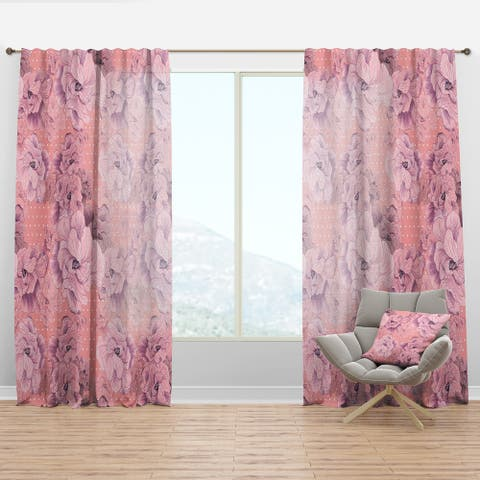 Designart 'Pink Flowers Composition' Bohemian & Eclectic Curtain Panel