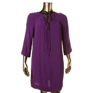 Diane Von Furstenberg Womens Parlian Solid 3/4 Sleeves Casual Dress - 14
