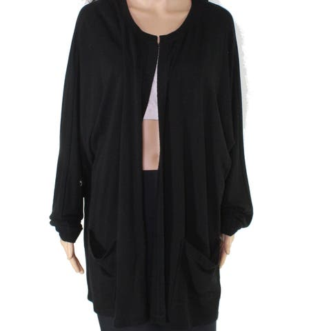 Cable & Gauge Women's Black Size 2X Plus Open Front Cardigan Sweater