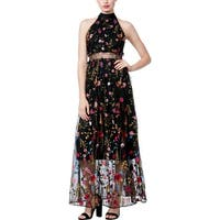 Betsey Johnson Womens Maxi Dress Halter Embroidered