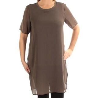 ALFANI $79 Womens New 1551 Green Slitted Jewel Neck Short Sleeve Top 12 B+B