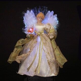 "12"" Ivory and Gold Lighted Fiber Optic Angel Christmas Tree Topper"