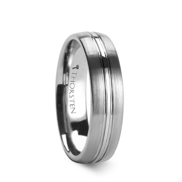 THORSTEN - BOSS Domed Center Groove Tungsten Carbide Ring with Brush Finish - 6mm