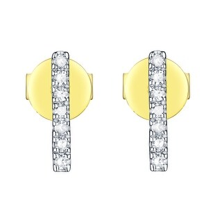 Prism Jewel 0.11Ct G-H/I1 Natural Diamond Light Weight Bar Stud Push Back Earring - White G-H