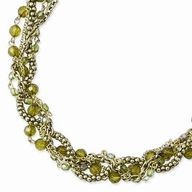 Brass Green Acrylic Beads Twisted Necklace - 16in