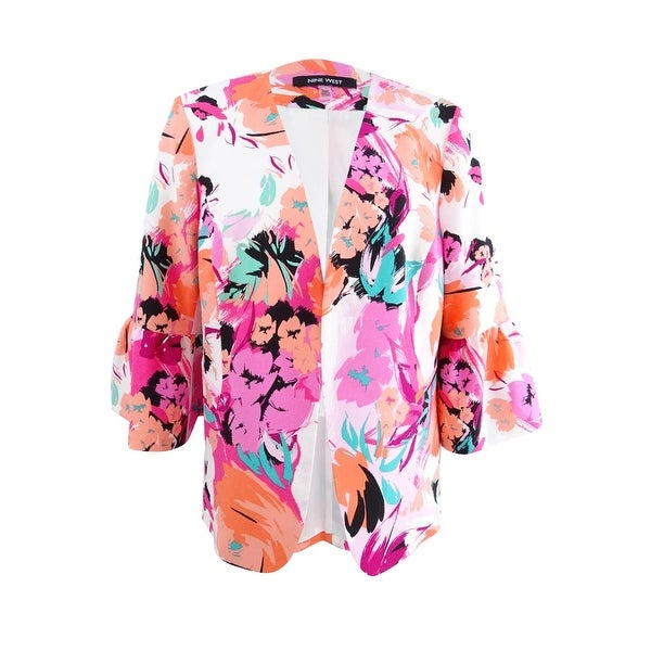 Nine West Women's Plus Size Ruffle-Sleeve Floral Jacket - Hibiscus Multi