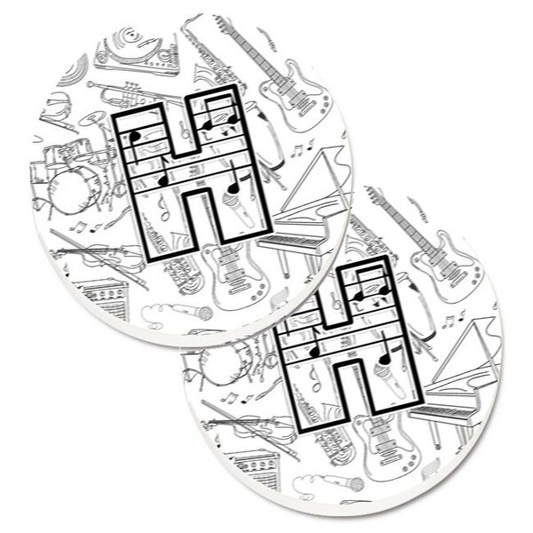 Letter H Musical Note Letters Set of 2 Cup Holder Car Coaster