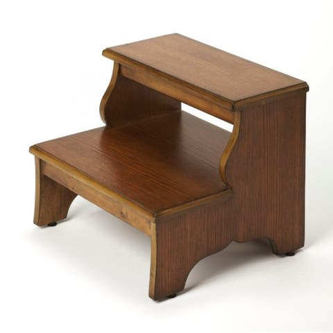 Transitional Wooden Step Stool in Praline Finish - Medium Brown