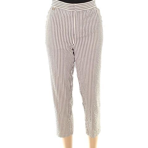 Lauren by Ralph Lauren Beige Black Womens 16 Cropped Stretch Pants