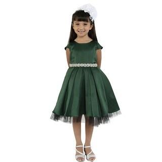 Kids Dream Little Girls Hunter Green Satin Rhinestone Trim Christmas Dress