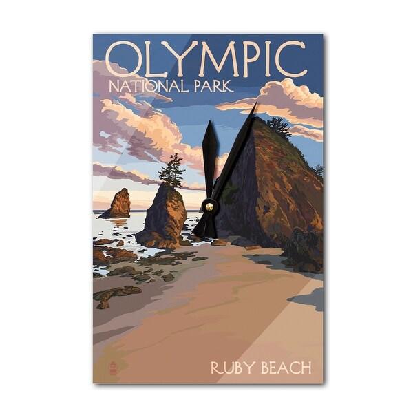 Olympic National Park WA - Ruby Beach - LP Artwork (Acrylic Wall Clock) - acrylic wall clock