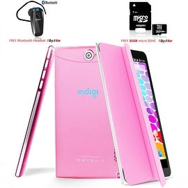 "Indigi® 7.0"" 3G Unlocked 2-in-1 Android 4.4 KitKat SmartPhone & TabletPC w/ Built-in Cover + Bundle Included(Pink)"