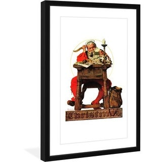 Marmont Hill Santa at His Desk - Framed Print Norman Rockwell Painting Print in Frame
