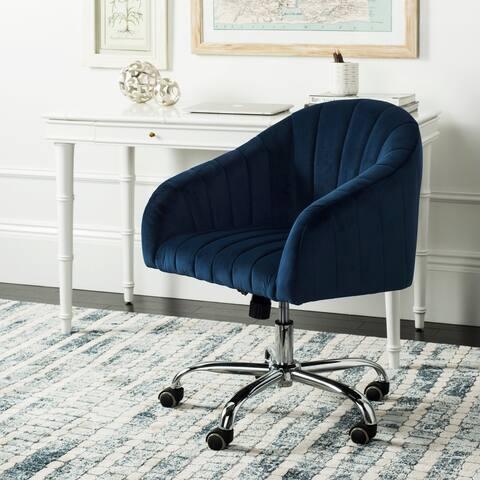 """Safavieh Themis Velvet Chrome Leg Swivel Office Chair - 24"""" x 22"""" x 32.3"""""""