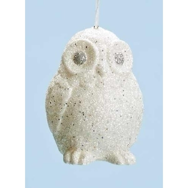 "4"" Winter Ice White and Silver Glittered Owl Christmas Ornaments"