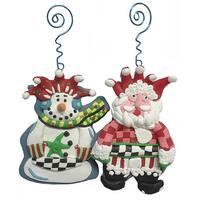 Set of 4 Artistic Snowman & Santa Claus Christmas Ornaments #21968