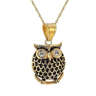 "Owl Pendant Stainless Steel 1.6"" Mens Ladies 14k Gold Tone Link Necklace Custom"