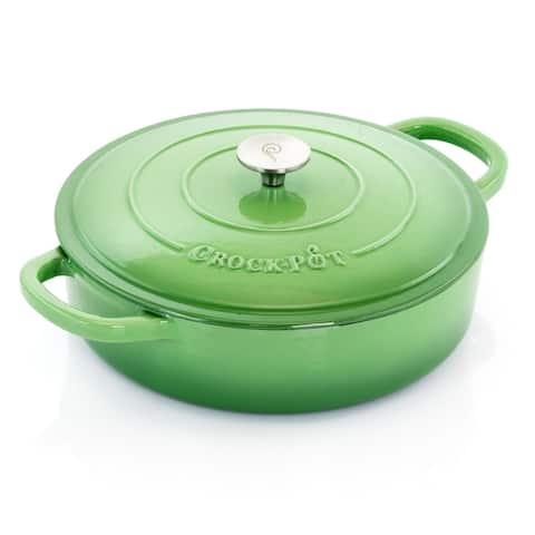 Crock Pot Classics 5Qt Ombre Enamel Cast Iron Braiser Pan Lid