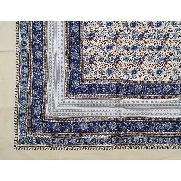 Handmade 100% Cotton Floral Tapestry Throw Tablecloth Bedspread Blue in Twin 70x106 & Full 88x106 Beach Sheet Dorm Decor