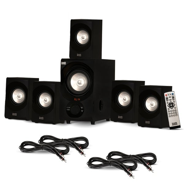 Acoustic Audio AA5171 Home 5.1 Bluetooth Speaker System with FM & 4 Ext. Cables