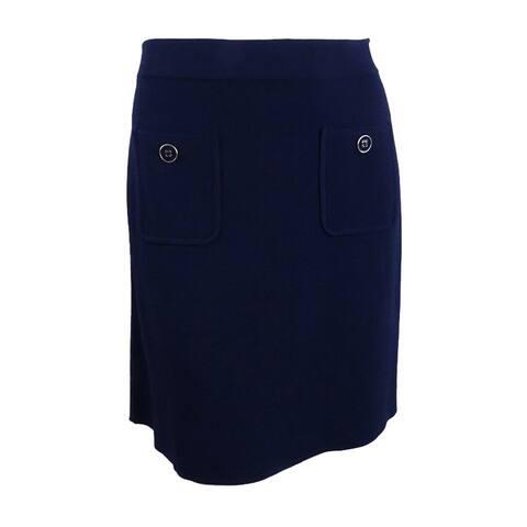 Tommy Hilfiger Women's Pull-On A-Line Skirt (XXL, Navy) - Navy - XXL