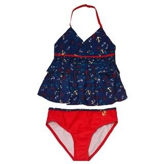 Jantzen Girls Navy Red Anchor Print Sailor 2 Pc Tankini Swimsuit