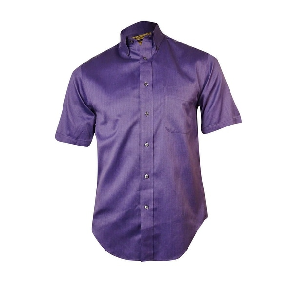 0a6d9dfc1 Roundtree & Yorke Men's Gold Label Herringbone Shirt - plum berry - S