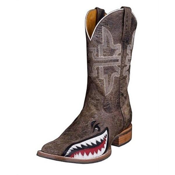 Tin Haul Western Boots Mens Gnarly Shark Brown