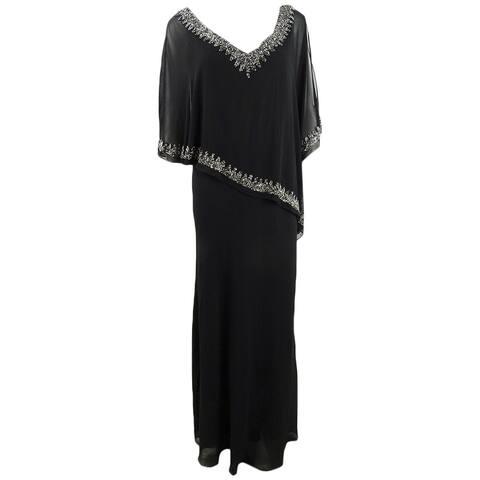 J Kara Women's Bead-Embellished Cape Gown (10, Black/Mercury)