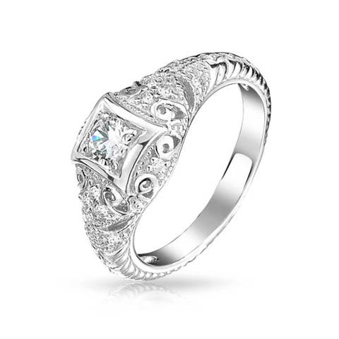 1 CT Deco Style Square Bezel Solitaire Round AAA CZ Milgrain Engagement Ring For Women 925 Sterling Silver