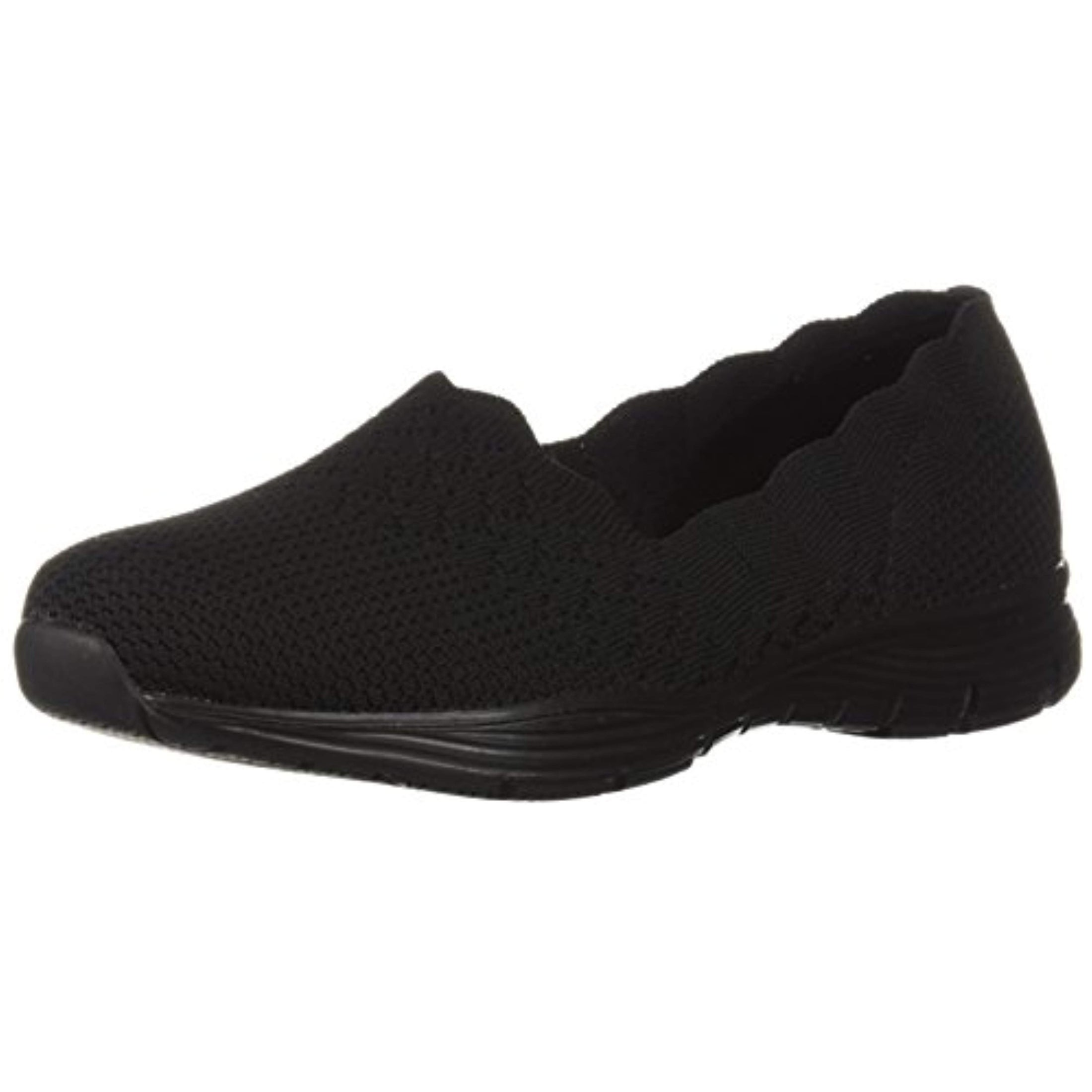 Skechers Women's Seager STAT Scalloped Collar, Engineered Skech Knit Slip On Classic Fit Loafer, Black, 6.5 W US