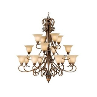 Vaxcel Lighting BE-CHU016 Berkeley 16 Light Three Tier Chandelier with Frosted Glass Shades - 49 Inches Wide