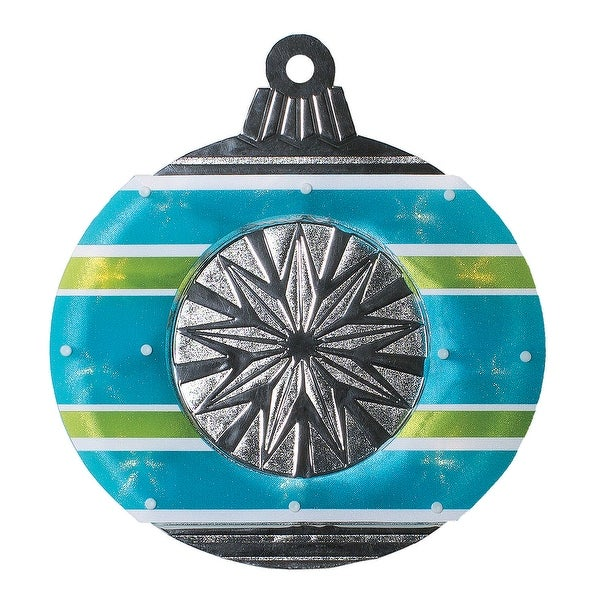 "15.5"" Lighted Shimmering Blue, Green, White & Silver Ornament Christmas Window Silhouette Decoration - BLue"