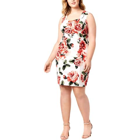 Love Squared Womens Plus Party Dress Floral Print Above Knee - 1X